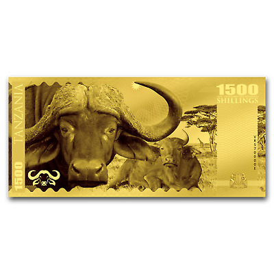 2018 Tanzania 1 gram Gold Big Five Buffalo Foil Gold Note - SKU#159753