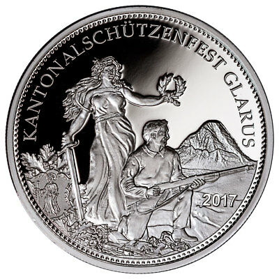 2017 Switzerland Shooting Festival Thaler Glarus Silver Proof Coin COA SKU45748