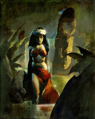 THE TIKI ISLAND PRINCESS! Mike Hoffman Giclee Stretched Canvas Print!