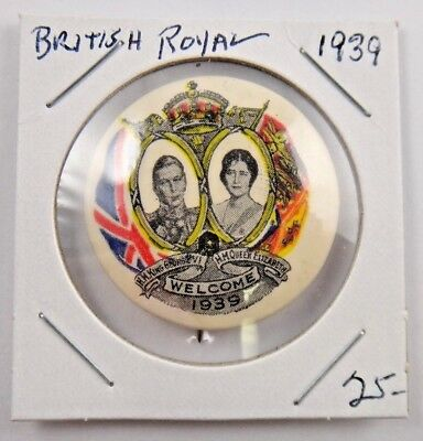1939 Welcome King George VI Queen Elizabeth British Royal Pin Pinback Button