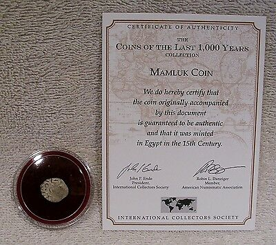 Mamluk Coin - 15th Century Silver - COA Information Card  - Slave Kings of Egypt