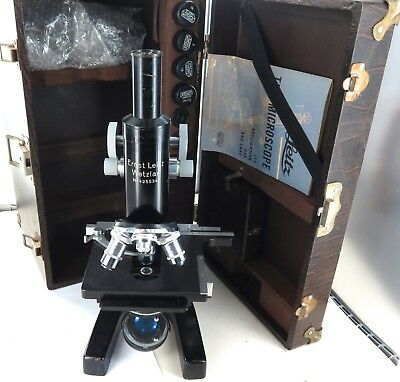 .c1950 ERNST LEITZ MONOCULAR MICROSCOPE. ORIGINAL CASE, LIGHT, ACCESSORIES