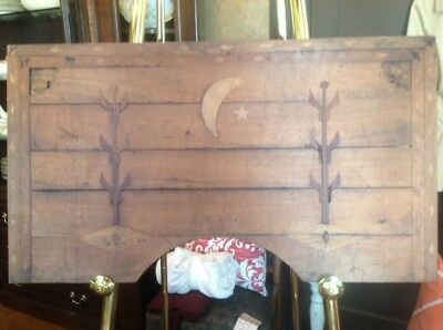 """Antique  Primitive Early Wooden Bed Tray 21"""" X 32"""" With Inlaid Wood Rare Find!"""