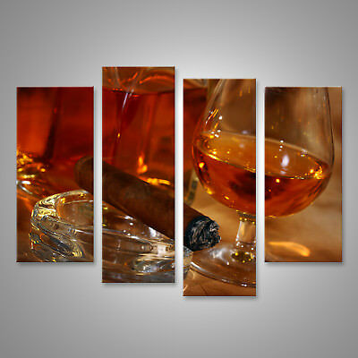 Whiskey and Cigar Ice Drink Canvas Wall Art Picture Print 76x50cm