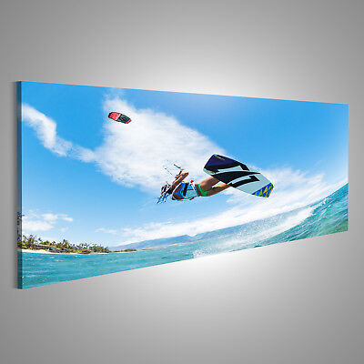 Canvas Wall Art Kiteboarding, fun in the ocean, extreme sports CAF-Pano