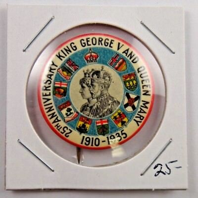 1935 25th Anniversary of King George V and Queen Mary British Royalty Pin Button
