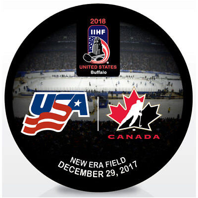 2018 World Juniors Championship IIHF Hockey Puck - USA vs Canada 12/29/2017
