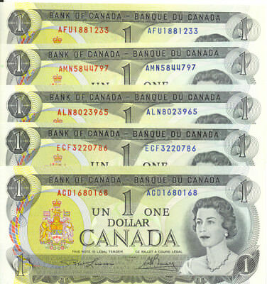 Bank of Canada 1973 $1 One Dollar Lot of 5 Notes UNC Not Consecutive