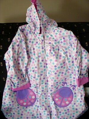 Totes GIRLS LADYBUG White with DOTs Hooded Raincoat NEW LINED Pink Purple