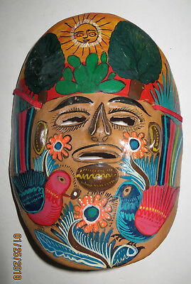 Vintage Clay Face Mask  From Mexico * Wall Hanging