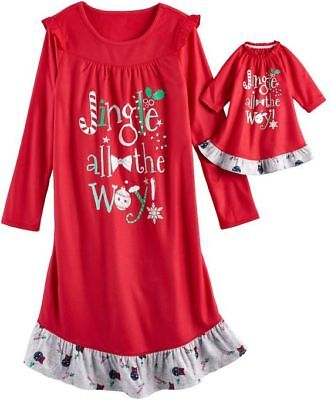 """NWT Girls Christmas Nightgown & 18"""" Doll Gown Fits American Girl Dollie & Me"""