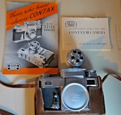 ZEISS IKON CONTAX lll 35mm camera for repair w case,cap, manual,Bower  viewfinder