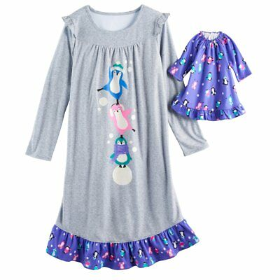 """NWT Girls Penguin Nightgown & 18"""" Doll Gown Fits American Girl Dollie & Me"""