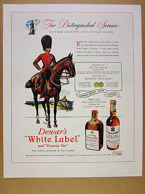1945 Scots Guards lt. colonel on horseback art Dewar's Scotch vintage print Ad
