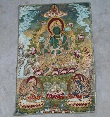 Silk embroidery thangka Tibet and Nepal Tibetan guanyin exorcism peace and wea