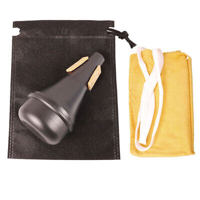 Lightweight Trumpet Practice Mute Straight Silencer Brass & Bag & Cleaning Cloth