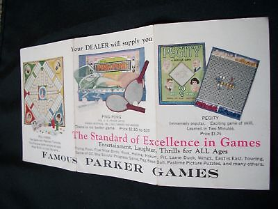 Vintage 1930S-40S? Famous Parker Games Boardgame Insert/brochure, Nice Graphics
