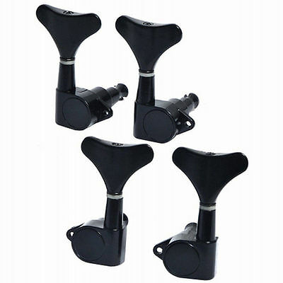 2R2L 4 Strings Sealed Guitar Bass Tuning Pegs Black Tuner Machine Heads Sets