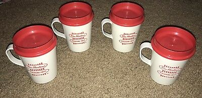 Lot Of 4 Vintage Tim Hortons Travel Mugs/plastic Cups Red White English/french