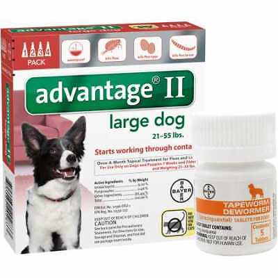 4 MONTH Advantage II Flea Control for Large Dogs (21-55 lbs) + Tapeworm Dewormer