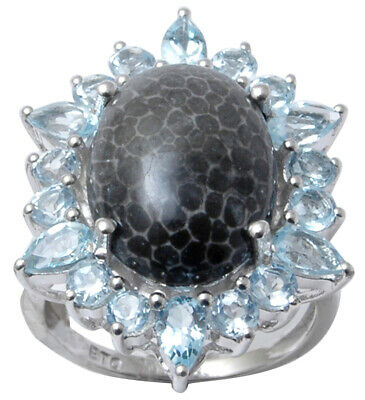 925 Sterling Silver Blue Topaz And Black Coral Stone Ring Women Fashion Jewelry