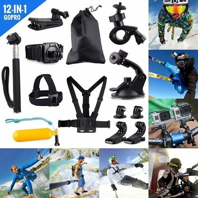 Go pro Accessories Set Kit 12 in 1 for Hero 4 Bag Monopod Head Chest Mount Strap