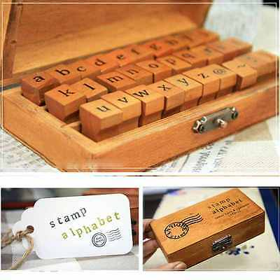 30pcs Retro Wooden Box Vintage Craft Alphabet Letter Number Rubber Stamp AU