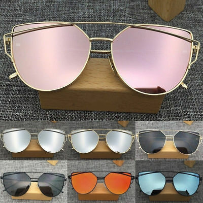 Women's Glasses Metal Flat Lens Vintage Fashion Mirrored Oversized Sunglasses T7