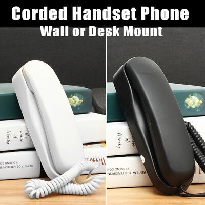 Black / White Handset Versatile Wall Desk Mount Corded Phone Telephone Home