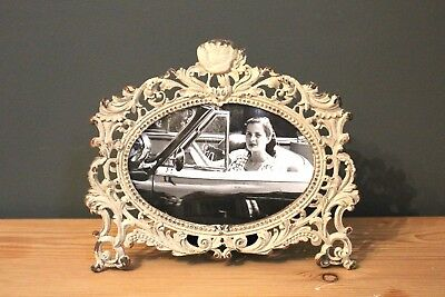 Cream Metal Photo Frame In Shabby Chic Vintage French Antique Style Distressed