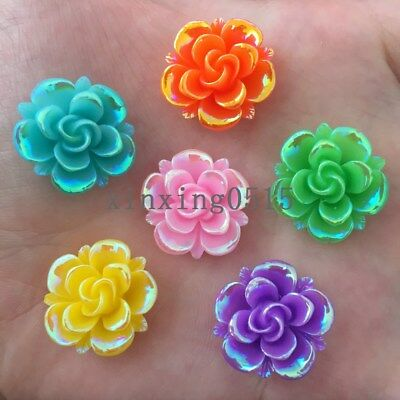 20PCS AB 20mm Resin flower stone Flatback Wedding diy Buttons scrapbook crafts
