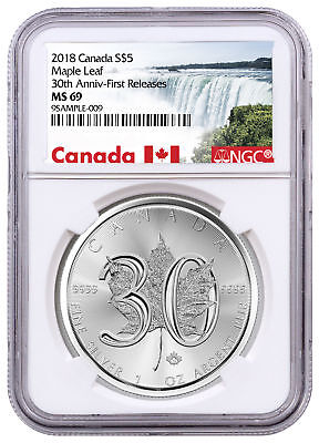 2018 Canada 1 oz Silver Maple Leaf 30th Anniversary $5 Coin NGC MS69 FR SKU52884