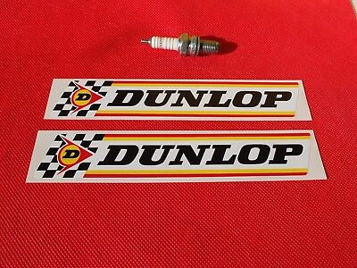 "Pair of  Dunlop 8"" Classic Check & Stripes stickers"