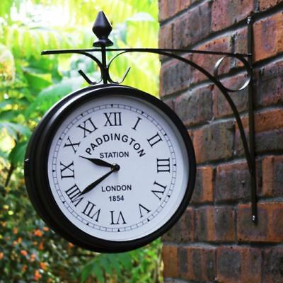 Vintage Station Clock Outdoor Wall Mounted Double Sided Black 20cm Diameter