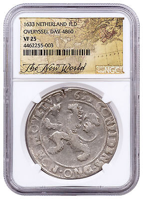 1633 Netherlands Silver New York Lion Dollar NGC VF25 Exl New World Lbl SKU52845