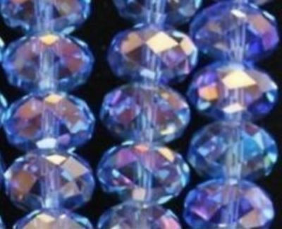 Wholesale Light blue AB Crystal Faceted Abacus Loose Bead 6*8mm 70pcs