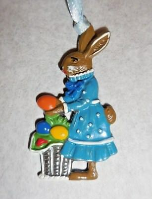 Kuhn Hand Painted Pewter From Germany Easter/spring Motif Mama Bunny With Basket
