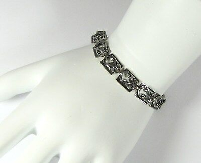 Beautiful Vintage 1960's DANECRAFT Sterling Silver Fancy Filigree Bracelet 7.5""