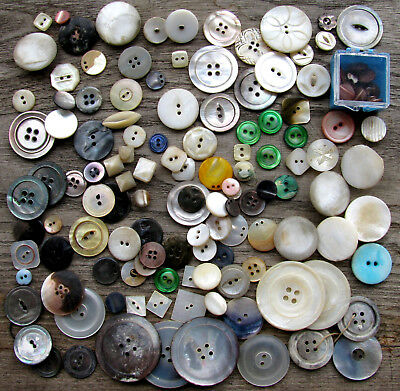 Vintage Antique Lot Of  MOP Mother of Pearl Buttons - Carved, Dyed, Big, Small