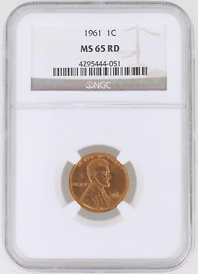1961 Lincoln Memorial Cent 1C NGC MS65 RD Red