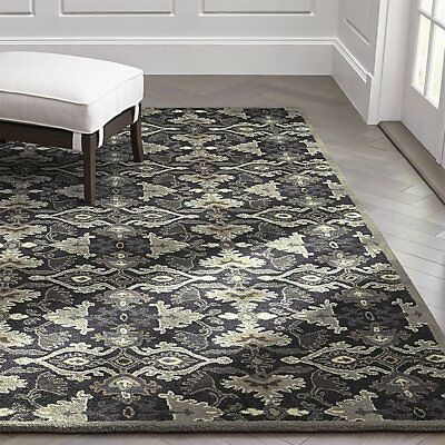 Crate Barrel Delphine Black Wool Handmade Area Rugs Carpet