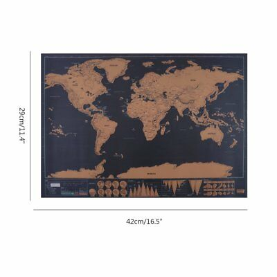 Deluxe Scratch Off World Map Poster  Journal Log Scratchable Travel For Gift New