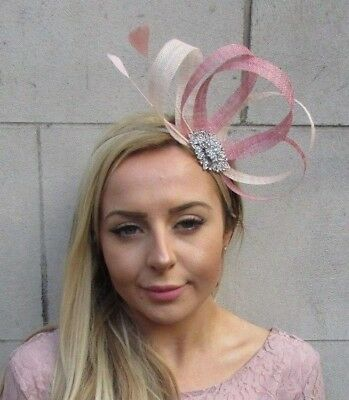 Dusky Pink Beige Cream Silver Sinamay Feather Hair Fascinator Headpiece 5452
