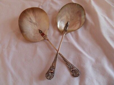 Pair of Victorian Silver Plated Shell Mother of Pearl Style Serving Spoons