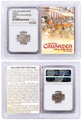 1250-1310 Greece, Billon Denier - Coin of Crusades NGC XF45 Story Vault SKU51725