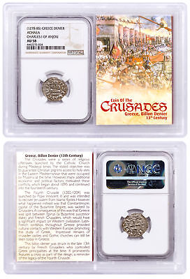 1250-1310 Greece, Billon Denier - Coin of Crusades NGC AU58 Story Vault SKU51852