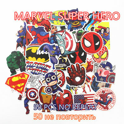 HOT 50 Pcs/Lot Stickers For MARVEL Super Hero Cartoon Stickers For Laptop Decal
