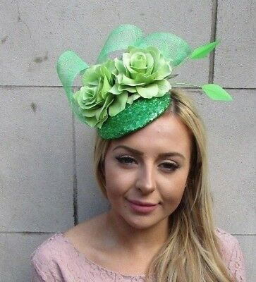 Green Sequin Feather Rose Flower Hair Fascinator Hat Races Statement Ascot 5458