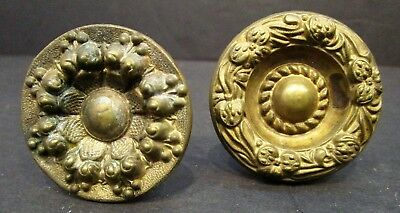 Lot of 2 Vintage Ornate Brass Cabinet Door Drawer Handles Pulls Hardware Knobs