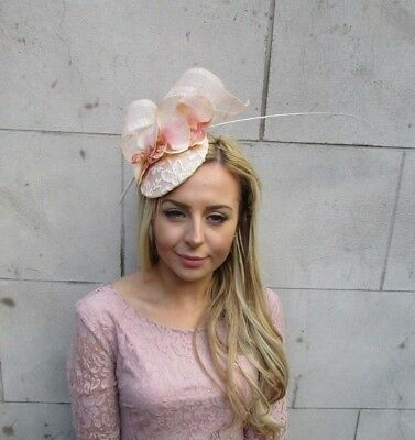 Beige Cream Peach Orchid Flower Feather Hair Fascinator Hat Races Ascot 5460